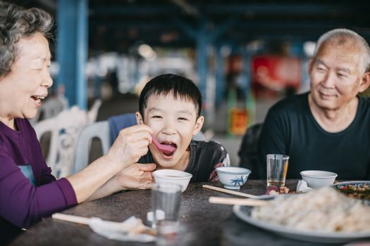 Grandmother feeding her grandson in restaurant