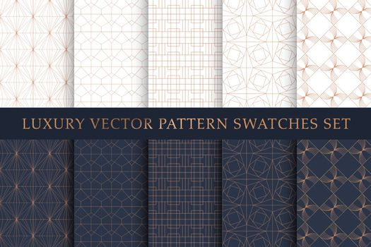 Golden copper luxury vector swatches pattern pack
