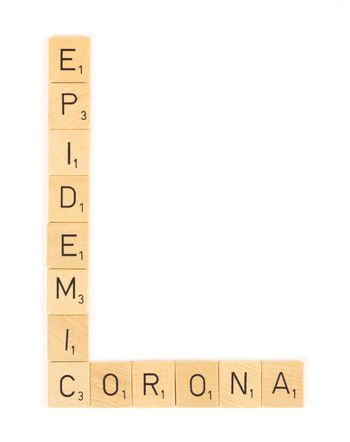 Corona epidemic scrable letters, isolated
