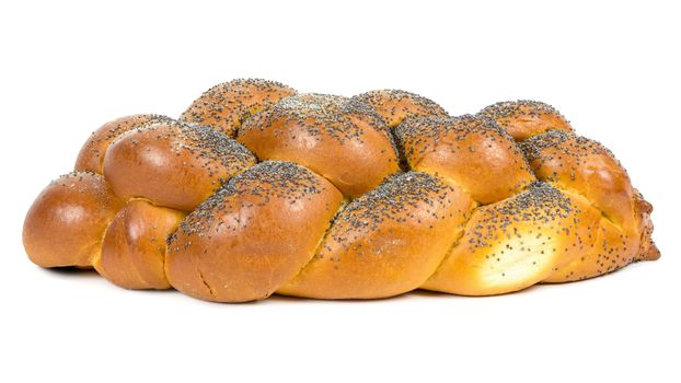 Fresh whole challah bread isolated on white background with clipping path