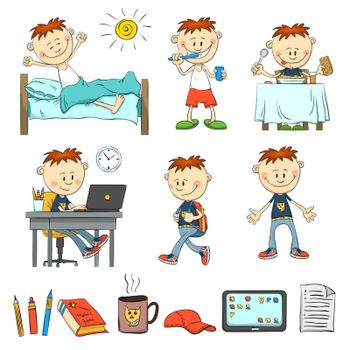 Boy during the day. What does an ordinary schoolboy. The boy wakes up, brushes his teeth, eat breakfast, studying for the laptop comes with a backpack. Items pupil: pencil, book, cap, tablet, sheet of paper, a mug. Color illustration from the hand.