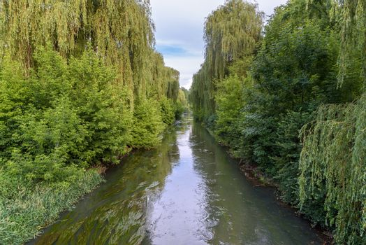 View of Brynica river on the border between Sosnowiec and Katowice cities, Poland
