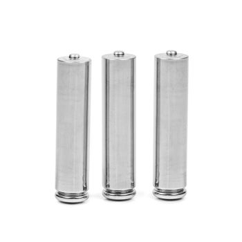 Three AAA batteries isolated on white background with clipping path