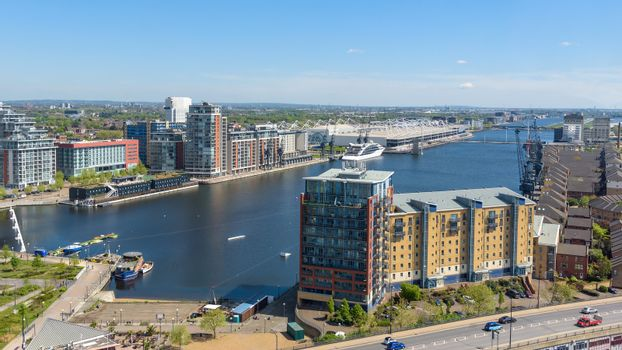 Aerial view of Royal Victoria Dock in Londons docklands, UK