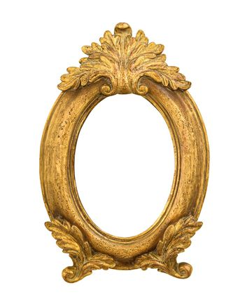 Oval golden decorative picture frame isolated on white background with clipping path