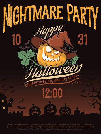 Poster invitation to the Halloween party with a grinning pumpkin in a hat. Vector illustration.