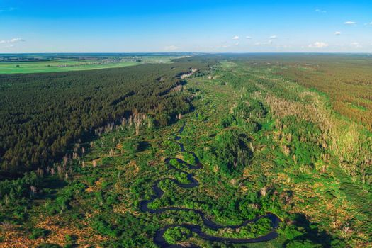 Aerial drone panoramic picture of winding river