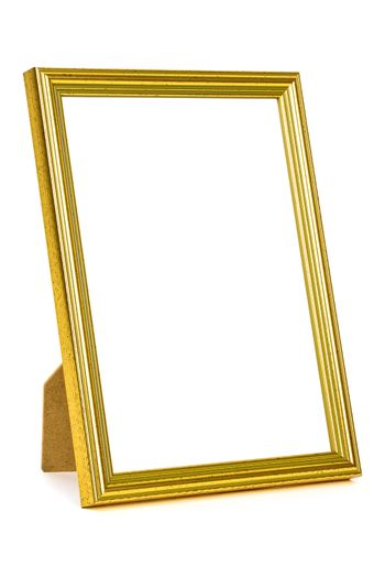 Standing golden picture frame isolated on white background with clipping path