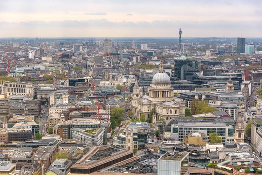 Aerial view of London downtown with St Pauls Cathedral