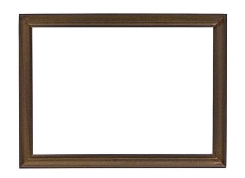 Brown wooden picture frame isolated on white background with clipping path