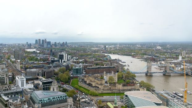 Panorama of London on a cloudy day