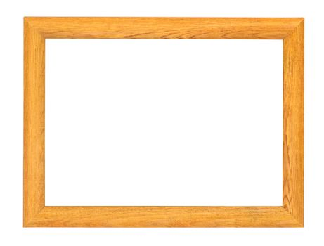 Wooden picture frame isolated on white background with clipping path