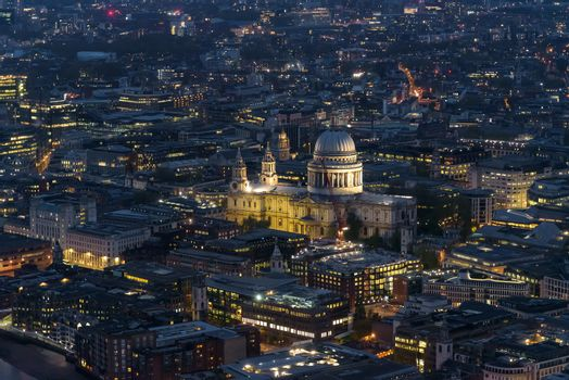 Aerial view of St Pauls Cathedral in London at night, UK
