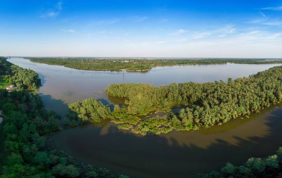 Aerial view of big siberian Ob river in beauty summer day, drone shot
