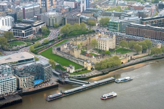 Aerial view of Tower of London at an overcast day