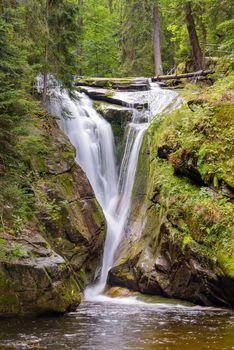 Waterfall of Szklarka river near Szklarska Poreba in Giant Mountains, Poland