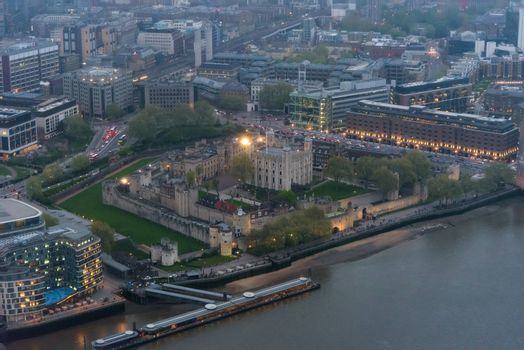 Aerial view of Tower of London at dusk