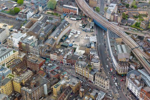 Aerial view of Southwark Street in cental London, UK