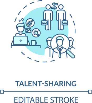 Sharing talent turquoise concept icon