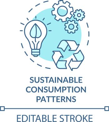 Sustainable consumption pattern turquoise concept icon