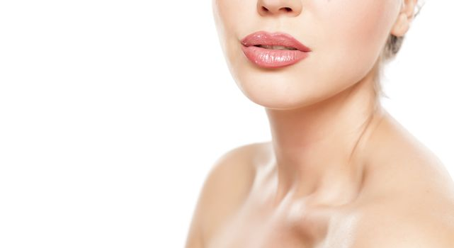 beautiful female lips with lip gloss