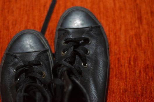 Old Black Leather Stylish Shoes, Vintage, Fashion