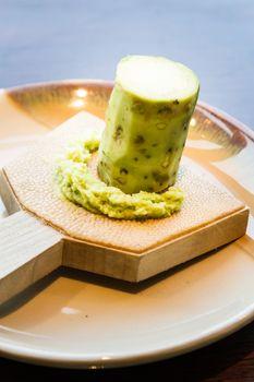Fresh wasabi root, condiment for sushi and sashimi, japanese food