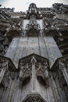 architectural detail of the Roman Catholic cathedral Saint Gatien in Tours, Indre et Loire, France