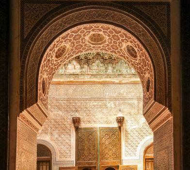 Stunning artwork inside the Telouet Kasbah, Morocco