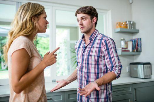 Upset couple having an argument