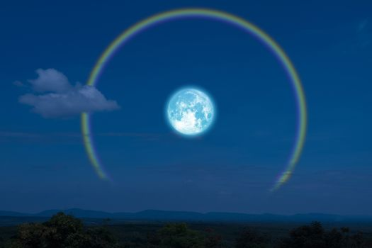 Full flower Moon halo back silhouette mountain and river
