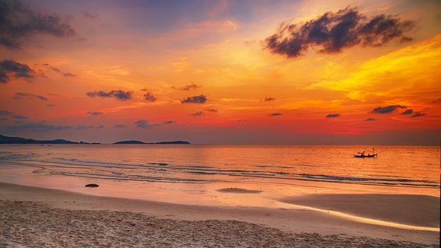 Summer beach Sea sunset bright sun