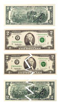 concept of coronavrius epidemic two US dollar bill