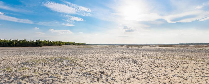 Panoramic view of Bledow Desert, the biggest sand accumulation away from any sea, located in southern Poland