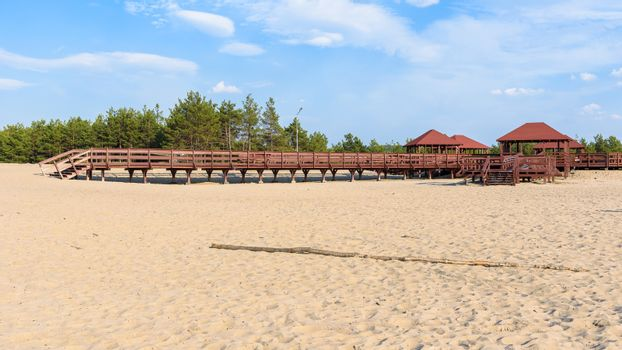 """Panoramic view of wooden structure called """"wind rose""""on the edge od Bledow Desert, Poland"""