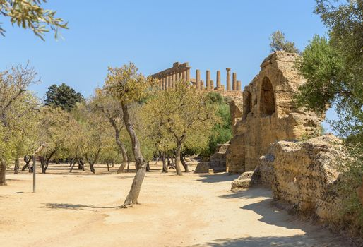 Remains of the ancient greek city of Akragas in the Valley of the Temples in Agrigento, Sicily, Italy