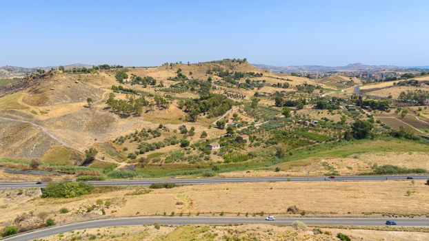 Panoramic view of rural landscape of Sicily in Agrigento area, Italy
