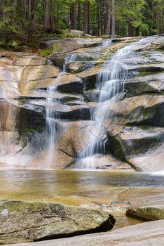 Closeup of Mumlava Waterfall near Harrachov in Czech Giant Mountains