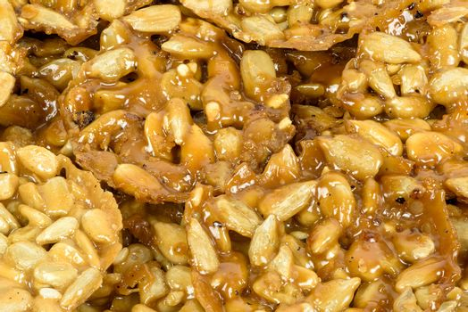 Closeup of florentine buiscuits made of nuts, seeds and honey as a culinary background