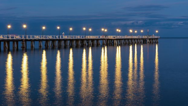 Panoramic view of wooden pier in Gdynia Orlowo in Poland at dusk
