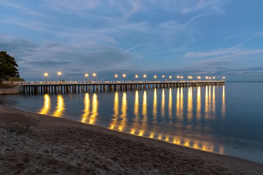 Evening view of wooden pier in Gdynia Orlowo in Poland