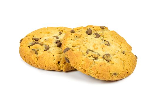 Chocolate chips cookies isolated on white background with clipping path