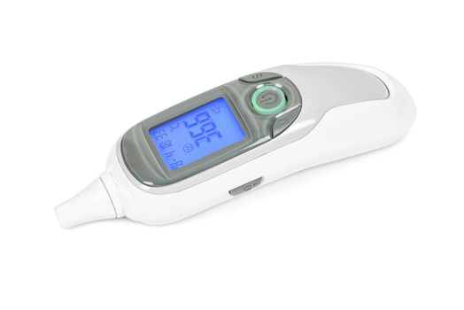 Digital infrared thermometer isolated on white background with clipping path