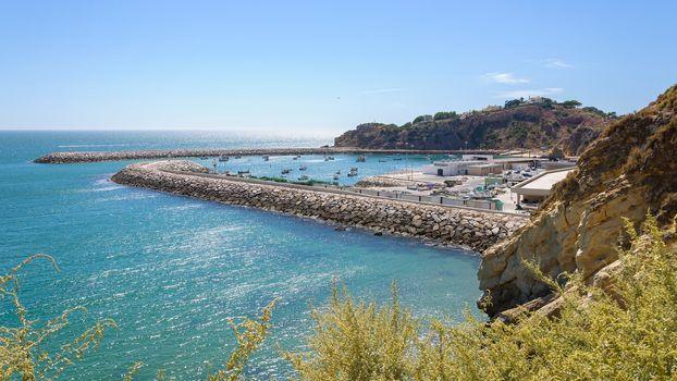 View of fishing port in Albufeira, Algarve, Portugal