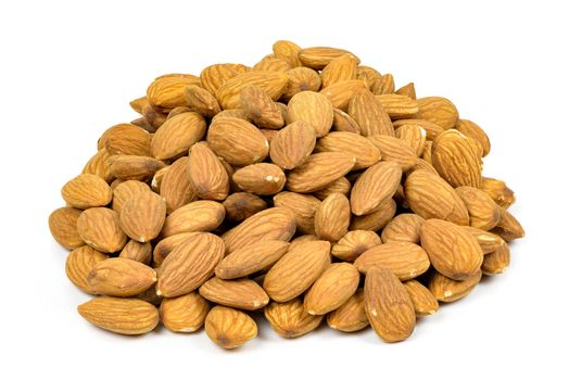 Heap of almond nuts isolated on white background with clipping path