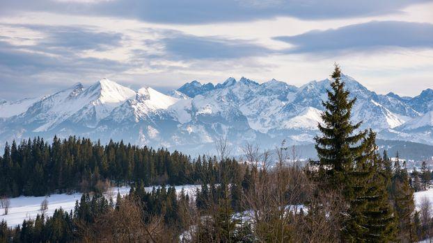 Winter landscape of High Tatra Mountains on the Polish-Slovak border