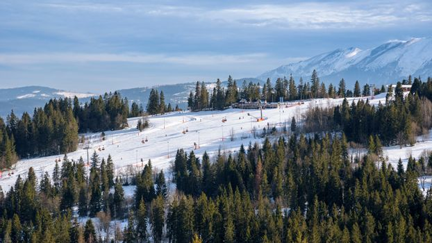 Aerial view of ski slope in polish Tatra Mountains