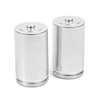 Two LR20 D size batteries isolated on white background with clipping path