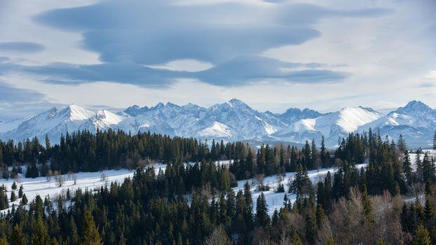 Panoramic winter landscape of High Tatra Mountains on the Polish-Slovak border