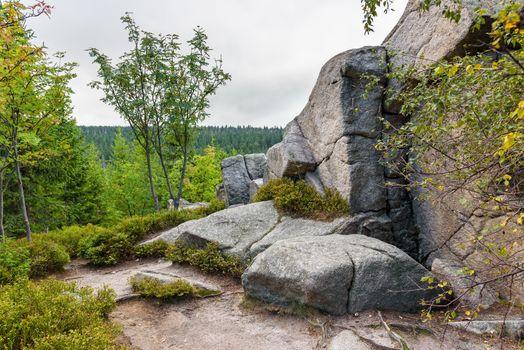 Huge rocks at red mountain trail to Szrenicka Hall near Szklarska Poreba, Poland